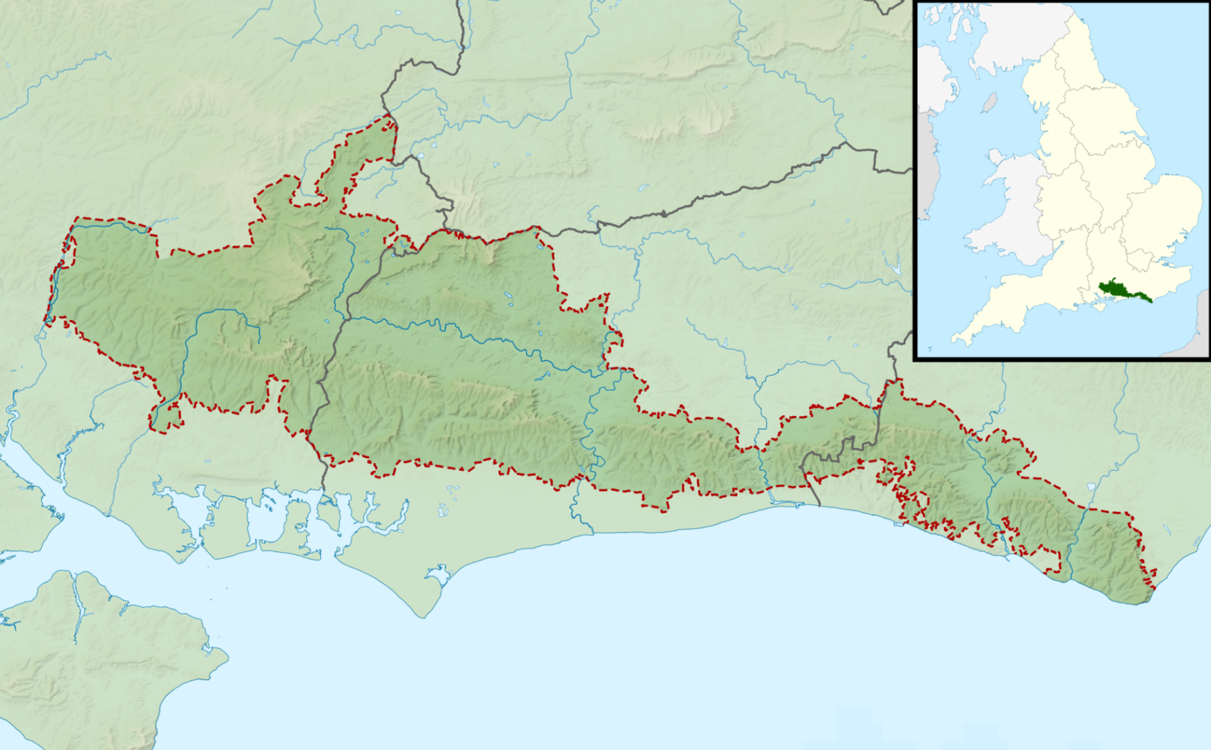 Map of South Downs location within the UK